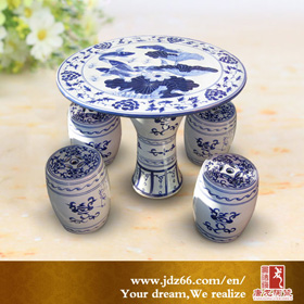 Ceramic table and stool set