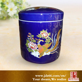 Dark blue ceramic urn