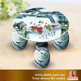 Porcelain garden table and stool